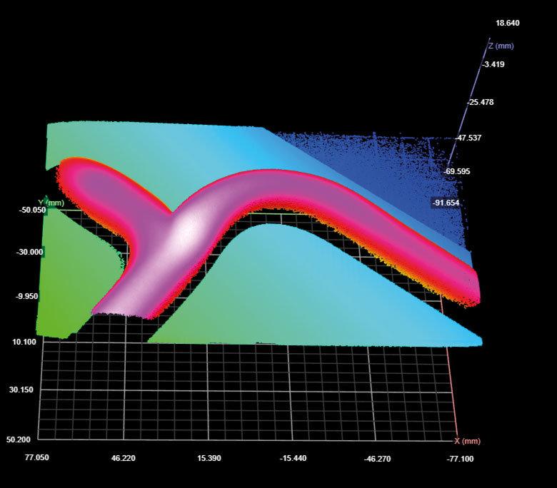 NeuroCheck 3D-Xtension: Vermessen von Dispensraupen (Abbildung © NeuroCheck)