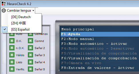 NeuroCheck Software Multilingual switching to other languages (Image © NeuroCheck)
