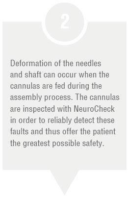 Production step: Feeding cannula tips (Image © NeuroCheck)