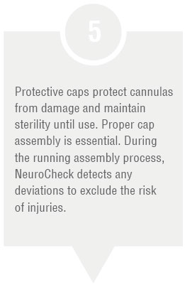 Production step: Mount protective caps (Image © NeuroCheck)